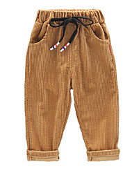 abordables -Enfants Garçon Rétro Vintage / Basique Couleur Pleine Cordon Coton Pantalons Noir