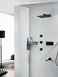 Недорогие -черный смеситель для горячей и холодной воды - современный настенный монтаж смесители для душа с керамическим клапаном