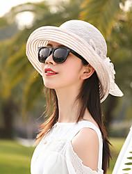 Недорогие -Жен. Активный Классический Симпатичные Стиль Соломенная шляпа Шляпа от солнца Солома,Контрастных цветов Цветочный принт Весна Лето Темно синий Розовый / Белый Винный