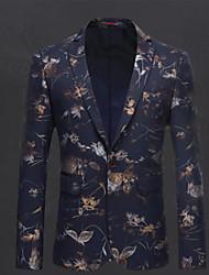 preiswerte -Marineblau Mit Mustern Schlanke Passform Polyester Anzug - Fallendes Revers Einreiher - 1 Knopf