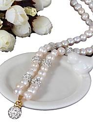 Недорогие -Колье с речным жемчугом классического цвета - горный хрусталь, модная бриллиантовая жемчужина, гламур, ретро / винтажный белый для подарка на вечеринку для женщин