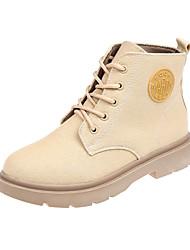 ราคาถูก -สำหรับผู้หญิง ผ้าใบ ฤดูใบไม้ร่วง & ฤดูหนาว ไม่เป็นทางการ บูท ส้นแบน ปลายกลม รองเท้าบู้ทหุ้มข้อ สีดำ / ผ้าขนสัตว์สีธรรมชาติ