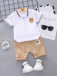 abordables -Bebé Chico Básico Estampado Manga Corta Regular Regular Algodón / Poliéster Conjunto de Ropa Blanco