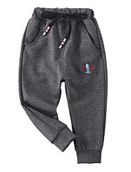 abordables -Enfants Garçon Basique / Chic de Rue Couleur Pleine Brodée Coton Pantalons Noir