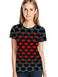 abordables -Tee-shirt Femme, Géométrique / 3D / Graphique Imprimé Rouge XXXXL