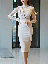 halpa -naisten polven pituus ohut bodycon mekko valkoinen s m l xl