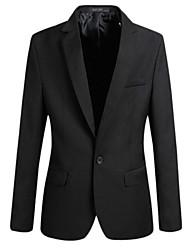 Недорогие -Муж. Большие размеры Блейзер, Однотонный Рубашечный воротник Полиэстер Черный / Серый / Винный