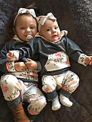 Недорогие -малыш Девочки На каждый день / Активный Цветочный принт С принтом Длинный рукав Обычный Хлопок Набор одежды Серый / Дети (1-4 лет)