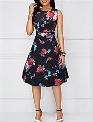 저렴한 -여성용 베이직 스윙 드레스 - 기하학, 패치 워크 무릎길이