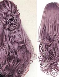 halpa -Synteettiset peruukit Kihara Tyyli Keskiosa Lace Front / Suojuksettomat Peruukki Violetti Purppura Synteettiset hiukset 26 inch Naisten Muodikas malli / Naisten / synteettinen Violetti Peruukki Pitkä