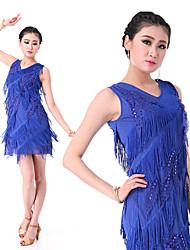 お買い得  -ラテンダンス ドレス 女性用 訓練 / 性能 エラステイン クリスタル / タッセル ノースリーブ ドレス