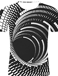 お買い得  -男性用 プリント Tシャツ ロック / 誇張された ストライプ / 3D / グラフィック ブラック XXL
