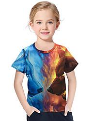 abordables -Enfants / Bébé Fille Actif / Basique Géométrique / Imprimé Imprimé Manches Courtes Polyester / Spandex Tee-shirts Bleu
