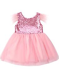 abordables -bébé Fille Actif / Basique Couleur Pleine / Mosaïque Maille / Mosaïque Sans Manches Coton Robe Rouge