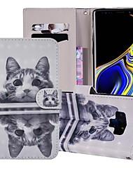 billige -Etui Til Samsung Galaxy Note 9 Pung / Kortholder / Med stativ Fuldt etui Kat Hårdt PU Læder for Note 9