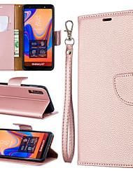 Недорогие -Кейс для Назначение SSamsung Galaxy Galaxy A7(2018) / Galaxy A10 (2019) / Galaxy A30 (2019) Кошелек / Бумажник для карт / со стендом Чехол Однотонный Твердый Кожа PU