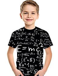 abordables -Enfants / Bébé Garçon Actif / Basique Géométrique / Imprimé Imprimé Manches Courtes Polyester / Spandex Tee-shirts Noir