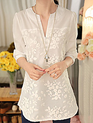 Недорогие -Жен. Вышивка Рубашка V-образный вырез Однотонный / Цветочный принт Белый
