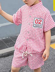 abordables -Enfants Garçon Actif / Basique Damier / Mosaïque Mosaïque Manches Courtes Normal Normal Coton Ensemble de Vêtements Bleu