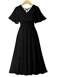 billige -kvinners midi løs chiffon en linje kjole v hals chiffon rødme rosa hvit svart s m l xl