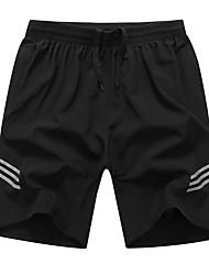 abordables -Hombre Básico Pantalones de Deporte Pantalones - Un Color Negro