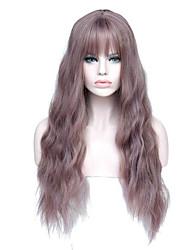 billige -Blondeparykker af menneskehår Kinky Glat Stil Mellemdel Lågløs Paryk Mørkebrun Mørkebrun Sølv Grå Syntetisk hår 26 inch Dame Dame Mørkebrun Paryk Lang Naturlig paryk