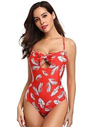 voordelige -Dames Standaard Rood Bandeau String Eendelig Zwemkleding - Geometrisch Blote rug M L XL Rood