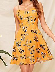 cheap -Women's Sophisticated Elegant Sheath Dress - Geometric Yellow M L XL