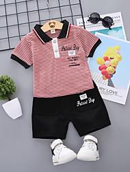 abordables -bébé Garçon Basique / Chic de Rue Imprimé / Mosaïque Mosaïque / Imprimé Manches Courtes Normal Court Coton Ensemble de Vêtements Noir