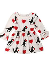 abordables -bébé Fille Actif / Basique Imprimé Imprimé Manches Longues Coton Robe Blanc