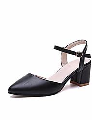 ราคาถูก -สำหรับผู้หญิง PU ฤดูร้อน ไม่เป็นทางการ รองเท้าแตะ ส้นหนา สีดำ / ผ้าขนสัตว์สีธรรมชาติ / Almond
