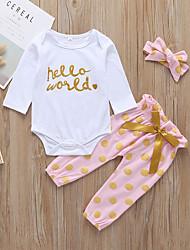 billige -Baby Pige Aktiv / Basale Prikker / Trykt mønster Sløjfer / Trykt mønster Langærmet Normal Bomuld Tøjsæt Hvid
