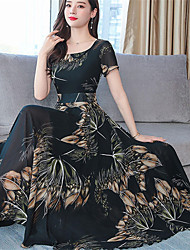 cheap -Women's Boho Elegant Swing Dress Print Brown Green Red XL XXL XXXL