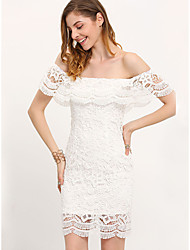 cheap -Women's Sophisticated Elegant A Line Shift Sheath Dress - Solid Colored Lace Backless Ruffle White M L XL