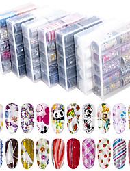 billige -10 pcs Klistermærker Romantisk Serie / Flower Shape Negle kunst Manicure Pedicure Bedste kvalitet Stilfuld / Farverig Daglig