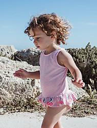 levne -Dítě Dívčí Základní Proužky Tisk Bez rukávů Bavlna Bodysuit Rubínově červená