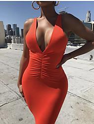 Недорогие -Полиэфир Клубное платье Супер секси Однотонный Для вечеринок Рюши / сборки Комбинезоны для ночного клуба