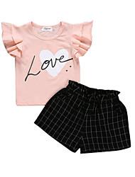 abordables -bébé Fille Actif / Basique Imprimé / Damier Noeud Manches Courtes Normal Coton Ensemble de Vêtements Rose Claire