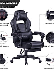 Недорогие -Откидное игровое кресло von racer - эргономичный гоночный компьютерный стол с высокой спинкой, офисный стул с выдвижной подставкой для ног и регулируемой поясничной подушкой (черный)