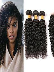 abordables -3 paquets avec fermeture Cheveux Brésiliens Kinky Curly Cheveux Vierges Naturel Paquets de 100% Remy Hair Weave Tissages de cheveux humains Bundle cheveux One Pack Solution 8-20 pouce Couleur
