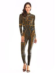 abordables -Trajes de baile Leotardos Mujer Entrenamiento / Rendimiento Poliéster / Licra Diseño / Estampado Manga Larga Cintura Alta Leotardo / Pijama Mono