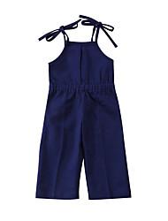 abordables -Enfants Bébé Fille Couleur Pleine Coton Spandex Ensemble & Combinaison Bleu