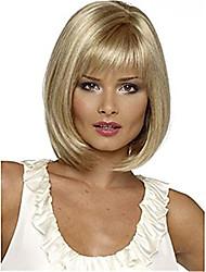 povoljno -Perike s ljudskom kosom Kinky Ravno Stil Srednji dio Capless Perika Zlatna Svijetlo zlatna Sintentička kosa 14 inch Žene Žene Zlatna Perika Dug Prirodna perika