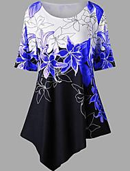 Χαμηλού Κόστους -Γυναικεία T-shirt Συνδυασμός Χρωμάτων Ρουμπίνι US10