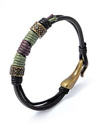 Недорогие -Муж. Кожаные браслеты Плетение Счастливый Стиль Кожа Браслет Ювелирные изделия Черный Назначение Подарок Повседневные