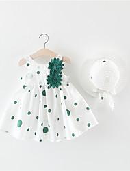 Недорогие -малыш Девочки Активный Горошек Открытая спина / Бант Без рукавов 50-60 cm Платье Зеленый