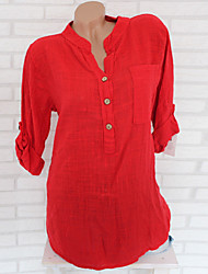 billige -Dame - Ensfarvet Basale Skjorte Rød US12