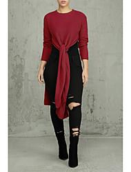 Недорогие -Жен. Однотонный Длинный рукав Пуловер, Круглый вырез Осень Белый / Темно синий / Винный M / L / XL
