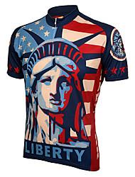 Недорогие -21Grams Статуя Свободы Муж. С короткими рукавами Велокофты - Красный + синий Велоспорт Джерси Верхняя часть Быстровысыхающий Впитывает пот и влагу Виды спорта Терилен / Слабоэластичная