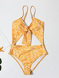 halpa -Naisten Perus Uima-allas Rubiini Keltainen Niskalenkki Yksiosainen Uima-asut - Kukka Avoin selkä M L XL Uima-allas